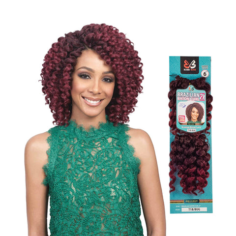 [BOBBI BOSS] Voluminous Crochet Braids 2X Brazlian Baton Curl 6""