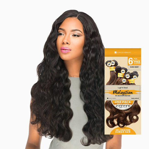 [Sensationnel] Bare & Natural Malaysian Euro Body One Pack Multi Length 6Pcs - Weaves