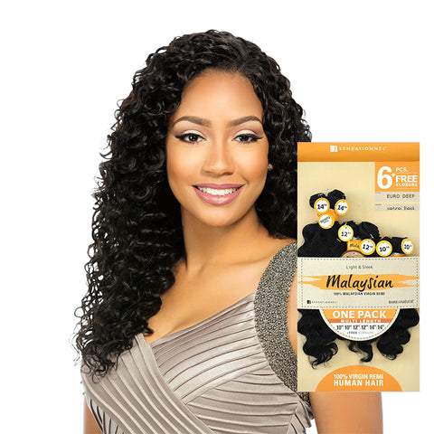 [Sensationnel] Bare & Natural Malaysian Euro Deep One Pack Multi Length 6Pcs - Weaves