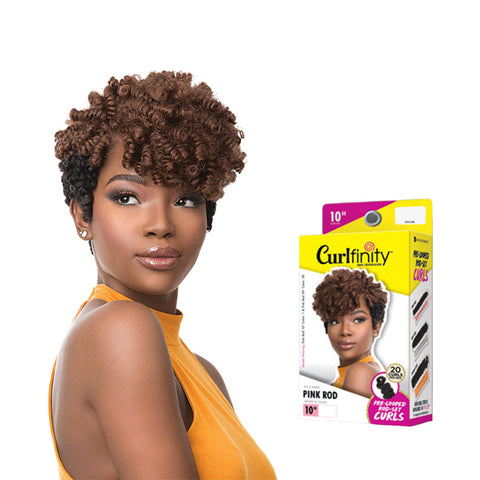 "SENSATIONNEL Crochet Braids CURLFINITY Pre-Looped Rod-Set Curls Pink 10"", 20"" [Small-Sized]"
