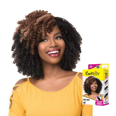 "SENSATIONNEL Crochet Braids CURLFINITY Pre-Looped Rod-Set Curls Grey 10"", 20"" [Mid-Sized]"