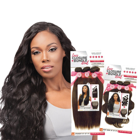 SENSATIONNEL BARE & NATURAL Lace Closure + Bundle Deal Body Wave