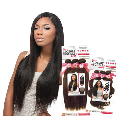 SENSATIONNEL BARE & NATURAL Lace Closure + Bundle Deal Straight