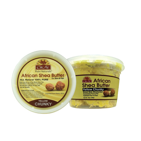 OKAY African Shea Butter Yellow Chunky 10oz