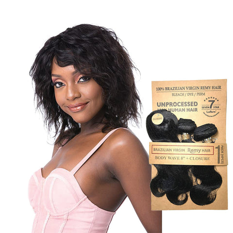 LAFLARE 100% Unprocessed Brazilian Hair 3 Bundles Body Wave 8""