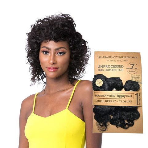 LAFLARE 100% Unprocessed Brazilian Hair 3 Bundles Loose Deep 8""
