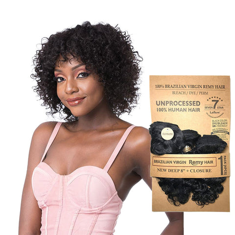 [LAFLARE] Laflare 100% Unprocessed Brazilian Hair 3 Bundles New Deep 8""