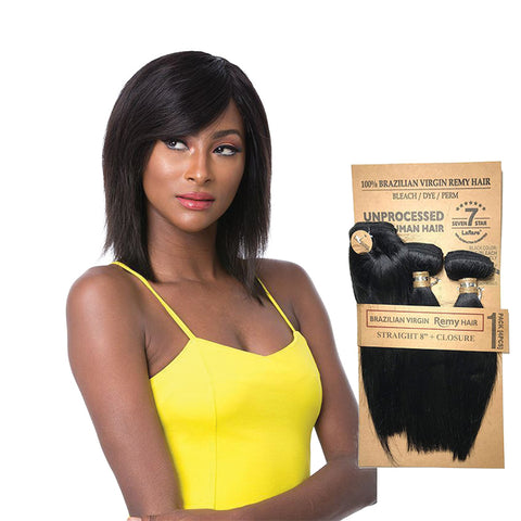 LAFLARE 100% Unprocessed Brazilian Hair 3 Bundles Straight 8""
