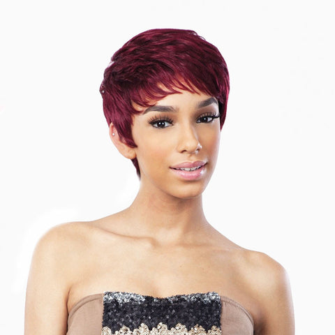 [Shake N Go] Saga 100% Remy Hair Full Cap Wig Mint Cream - Wigs