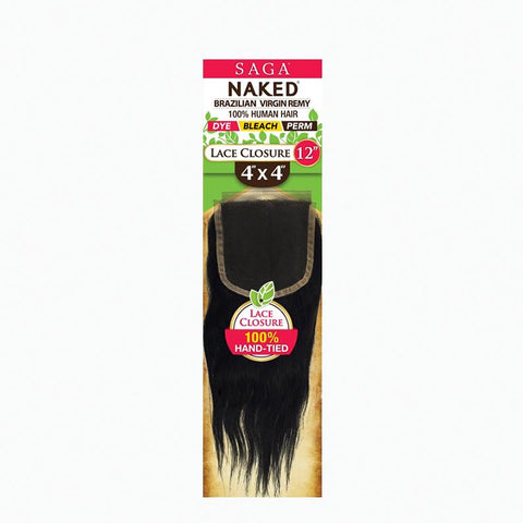 [Shake N Go] Naked Brazilian 100% Virgin Remy 4X4 Lace Closure Straight - Hair Pieces