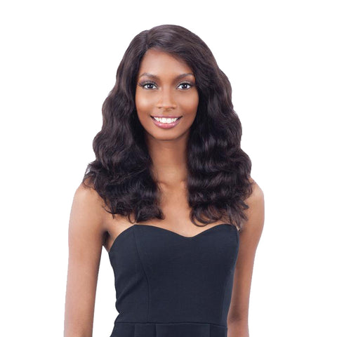 SHAKE N GO Naked Unprocessed Remy 100% Human Hair Premim Lace Wig Deep Invisible L-Part Body Wave