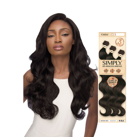 OUTRE SIMPLY 100% Unprocessed Human Hair 3 Bundles Natural Body