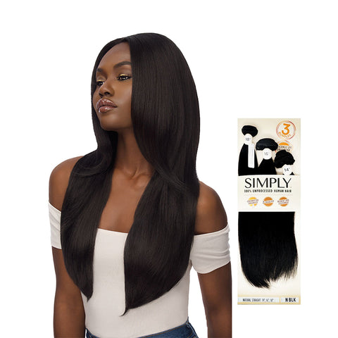 OUTRE SIMPLY 100% Unprocessed Human Hair 3 Bundles Natural Straight