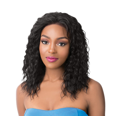 IT'S A Wig Human Hair Salon Remi Swiss Lace Front Wig WET N WAVY French Deep Water