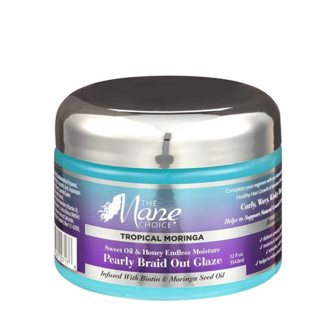 THE MANE CHOICE Tropical Moringa Sweet Oil & Honey Endless Moisture Pearly Braid Out Glaze 12oz