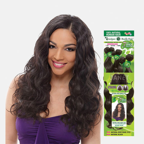[JANET] 100% Natural Virgin Human Hair Brazilian Natural Body Wave 7pcs
