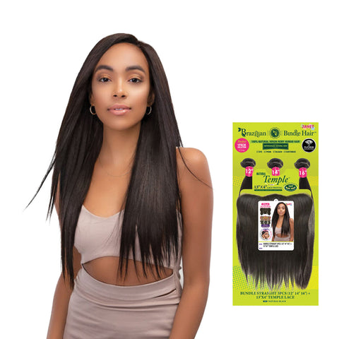 [JANET] 100% Natural Virgin Human Hair Brazilian Bundle Straight 3PCS + 13X4 Temple Lace