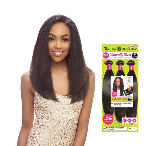 JANET 100% Natural Virgin Human Hair Brazilian Bundle Straight 3pcs