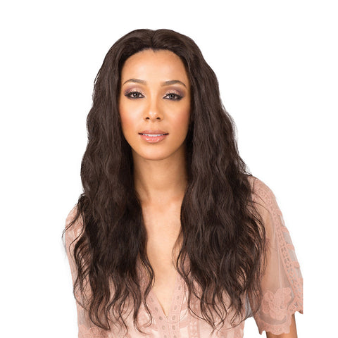"BOBBI BOSS 5""X3"" Hand-Tied Swiss Lace Front Human Hair Wig MELANIA"