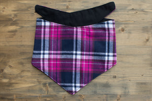 Pink + Purple Plaid Dog Bandana