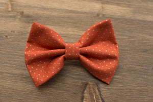Orange Polka Dots Dog Bow Tie