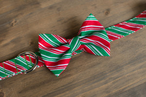 Red + Green Candy Cane Dog Bow Tie