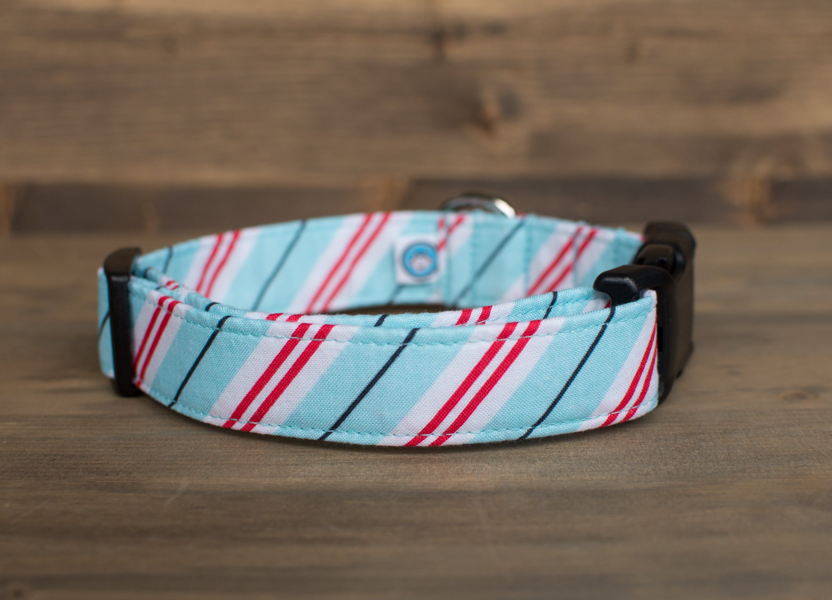 Blue Candy Stripes Dog Collar