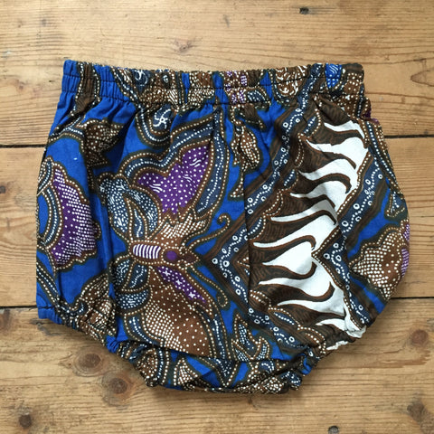 Batik Nappy Cover, Blue Butterfly