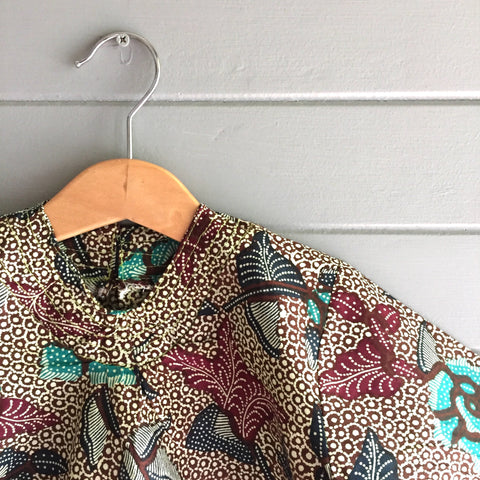 Batik V-Neck Blouse, Aqua Bulbs