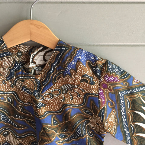 Batik V-Neck Blouse, Blue Butterflies