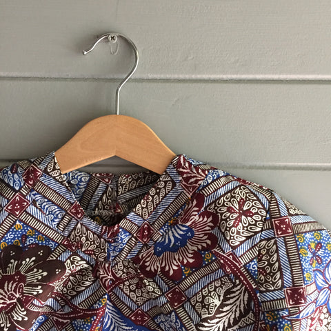 Batik V-Neck Blouse, Indigo Dream