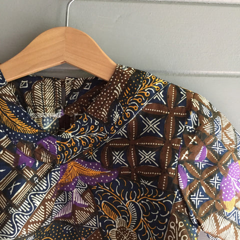 Batik V-Neck Blouse, Night Garden