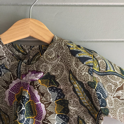 Batik V-Neck Blouse, Swirling Ferns