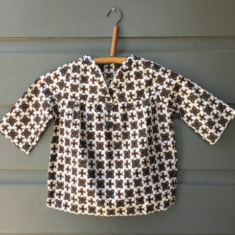 Batik Collarless Shirt, Black Star