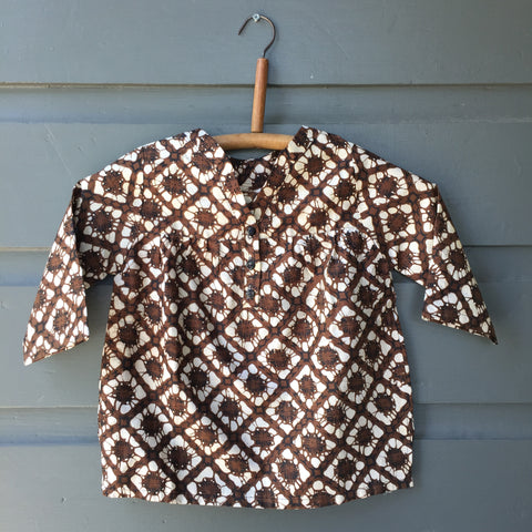 Batik Collarless Shirt, Cream Crumple