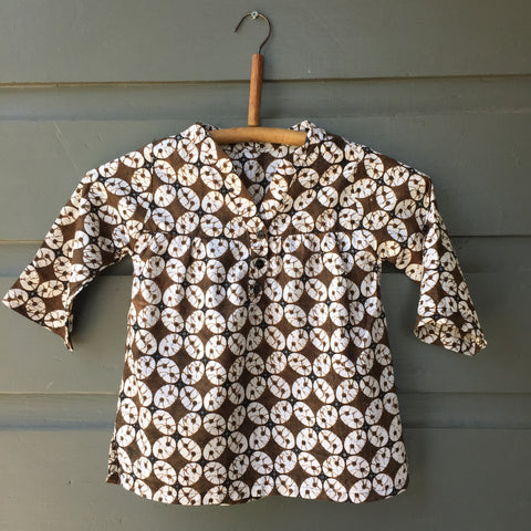 Batik Collarless Shirt, Palm Blossom