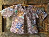 Batik V-Neck Blouse, Summer Flowers
