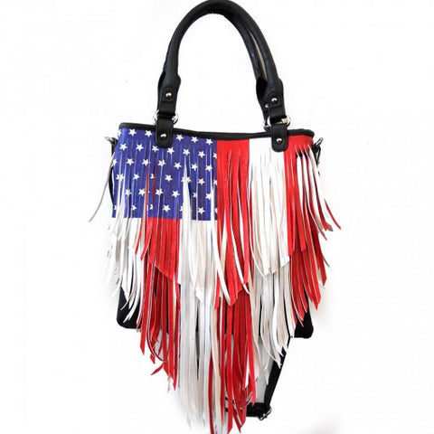 Concealed Carry US Flag Fringe Shoulder Bag
