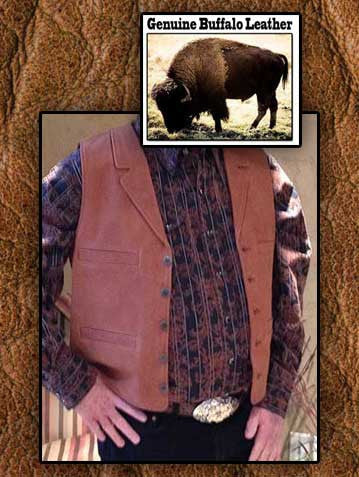 John Wayne Style Genuine Buffalo Leather Western Cowboy Vest