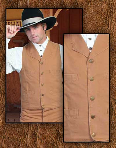 Scully Old West John Wayne Style Notched Lapel Canvas Vest - Five Colors