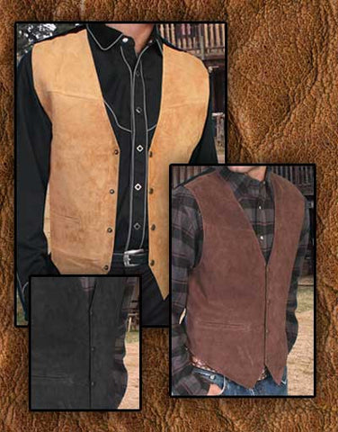 Wanted Dead Or Alive Style Scully Rich Suede Western Vests- Three colors!