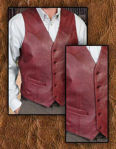 Ben Cartwright Style Scully Butter Soft Lambskin Black Cherry Or Antique Brown Western Vest