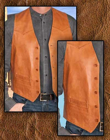 Wanted Dead Or Alive Style Scully Buttersoft Ranch Tan Lambskin Cowboy Vest