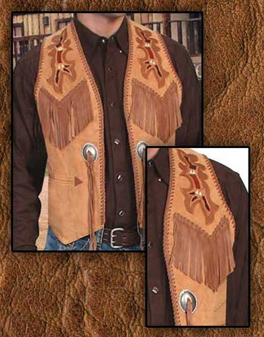 Scully Buffalo Bill Style Hand Laced Hand Tooled Fringed Western Two Tone Leather Vest