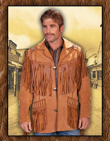 Gunsmoke Style Scully Bourbon Boar Suede Fringed And Hand Laced Western And Old West Coat