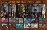 "New 100% Silk High Grade 34"" X 34"" Large Cowboy Scarf Collection"