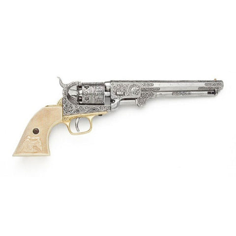 Civil War M1851 Replica Engrave Silver Navy Pistol Non-Firing Gun