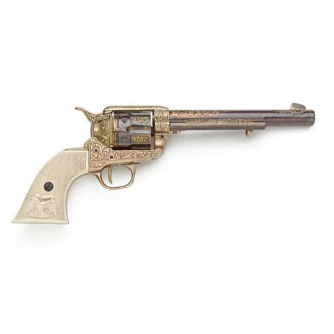 Old West Replica Gold Engraved Revolver Non-Firing Gun