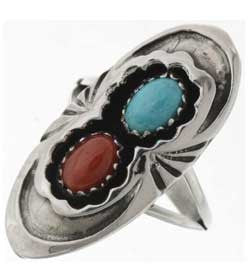 Natural Turquoise And Coral Sterling Silver Ladies - Navajo Made  Pointer Style