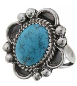 Natural Kingman Spiderweb Turquoise Sterling Silver Ladies Ring